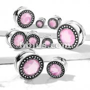 Pink Stone Centered Burnish Finish Shield Front 316L Surgical Steel Screw Fit Flesh Tunnel Plugs