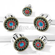 Turquoise Enamel and Beads Aztec Tribal Sun 316L Surgical Steel Double Flared Tunnel Plugs