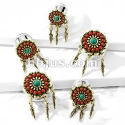 Tribal Flower with Turquoise Center and Feather Dangles 316L Surgical Steel Double Flared Tunnel Plugs