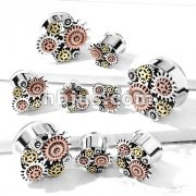 3-Tone Steampunk Geared 316L Surgical Steel Double Flared Tunnels