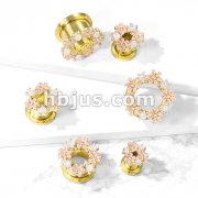 Opalite Stones and Enamel Flowers Gold PVD Over 316L Surgical Steel Screw Fit Flesh Tunnel Plugs