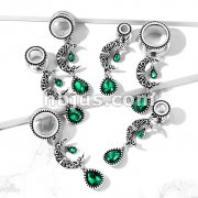 Filigree Moon with Emerald Green Stone Set Pear Dangle 316L Surgical Steel Flesh Tunnel Plugs