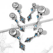 Turquoise Set Tribal Charms Dangle 316L Surgical Steel Screw Fit Flesh Tunnel Plugs
