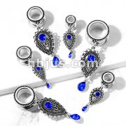 Sapphire Blue Stone Set Tear Drop Charms Dangle 316L Surgical Steel Screw Fit Flesh Tunnel Plugs