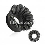 Lotus Organic Hand Carved Black ARENG Wood Tunnel Plug