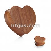 Heart Shape Organic Red Cherry Wood Double Flared Plug