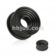 Ring Grooves Concave Organic Areng Ebony Wood Double Flat Flared Tunnel Plug