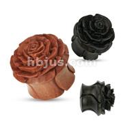 Wood Full Bloom Rosebud Handcarved Double Flared Organic Plug
