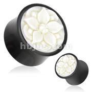 Flower Bloom White Hand Carved Bone Inlay Organic Buffalo Horn Saddle Fit Plug