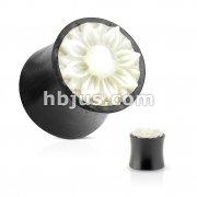 Lotus Flower Mother of Pearl Inlay Organic Wood Saddle Plug