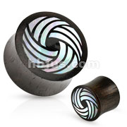 Tribal Circle Mother of Pearl Inlay Organic Black Wood Saddle Fit Plug