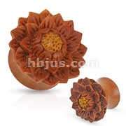 Hand Carved Lotus Flower Organic Jackfruit Tree Saddle Fit Plug