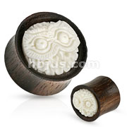Hand Carved Owl Head Buffalo Bone Inlay Organic Wood Saddle Fit Plug