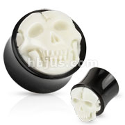 White Hand Carved Bone Skull Inlay with Organic Buffalo Horn Saddle Fit Plug