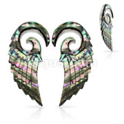 Pair of Organic Abalone  Angel Wing Spiral Taper
