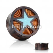 Crushed Turquoise Filled Cut Out Star with Coil Inside of Organic Sono Wood Double Flared Saddle Plugs
