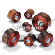 Mother of Pearl Center Inlay with Copper Wire Coil Organic Sono Wood Double Flared Saddle Plugs