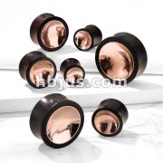 Organic Sono Wood Saddle Plug with Concaved Copper TinCenter on Both Sides