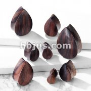 Organic Sono Wood Tear Drop Shape Double Flared Saddle Plugs