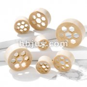 Honey Comb Cut Front Natural White Crocodile Wood Saddle Plugs