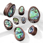 Abalone Inlaid Tear Drop Organic Sono Wood Saddle Plugs