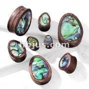 Abalone Inlaid Tear Drop Organic Sono Wood Saddle Plugs