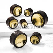 Organic Sono Wood Saddle Plug with Concaved Gold Tin Center on Both Sides