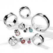 CZ Lined Rim316L Surgical Steel Screw Fit Flesh Tunnel