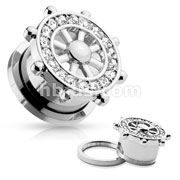 CZ Paved Yacht Wheel Top 316L Surgical Steel Screw Fit Flesh Tunnels