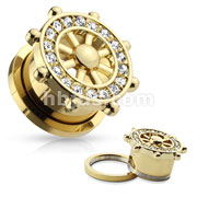 CZ Paved Yacht Wheel Top Gold IP Over 316L Surgical Steel Screw Fit Flesh Tunnels