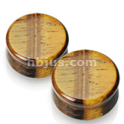 Large Sizes of Solid Tigers Eye Semi Precious Stone Saddle Fit Plugs 60pc Pack( 10pcs x 6sizes, 8GA ~00GA)