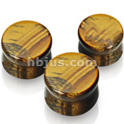 Small Sizes of Solid Tigers Eye Semi Precious Stone Saddle Fit Plugs 60pc Pack( 10pcs x 6sizes, 8GA ~00GA)