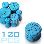 Small Size Turquoise Saddle Fit Plugs 120pc Pack (20pcs x 6 sizes, 8GA~00GA)