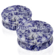 Large Sizes of Solid Blue Spot Stone Saddle Fit Plugs 60pc Pack (10pcs x 6sizes, 1/2