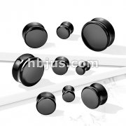 Black Obsidian Natural Stone Double Flared Plugs
