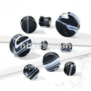 Black and White Agate Natural Stone Double Flared Plugs