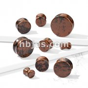 Mahogany Obsidian Natural Stone Double Flared Plugs