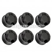 Black Agate Double Flared Faceted Semi Precious Stone Plugs 42pc Pack (6pcs x 7size, 4GA ~ 5/8