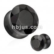 Black Agate Semi Precious Stone Faceted Gem Cut Double Flared Plug
