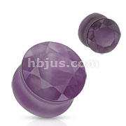 Amethyst Double Flared Faceted Semi Precious Stone Plugs 42pc Pack (6pcs x 7size, 4GA ~ 5/8