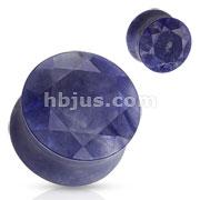 Sodalite Semi Precious Stone Faceted Gem Cut on Both Sides Double Flared Plug