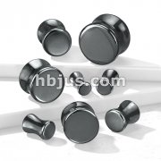 Hematite Natural Stone Double Flared Plugs