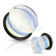 Semi Precious Domed Opalite Stone Single Flare Plug with O-Ring