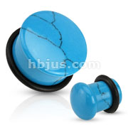 Semi Precious Domed Turquoise Stone Single Flare Plug with O-Ring