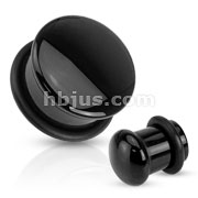 Semi Precious Domed Black Agate Stone Single Flare Plug with O-Ring