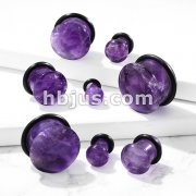Amethyst Semi Precious Stone Domed Single Flare Plug with O-Ring