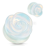 Opalite Semi Precious Stone Rose Carved on Single Side Double Flared Plug