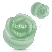 Green Aventurine Semi Precious Stone Rose Carved on Single Side Double Flared Plug
