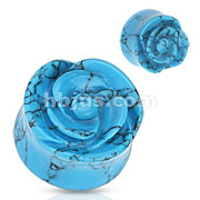 Blue Turquoise Semi Precious Stone Rose Carved on Single Side Double Flared Plug