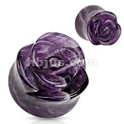 Amethyst Semi Precious Stone Rose Carved on Single Side Double Flared Plug